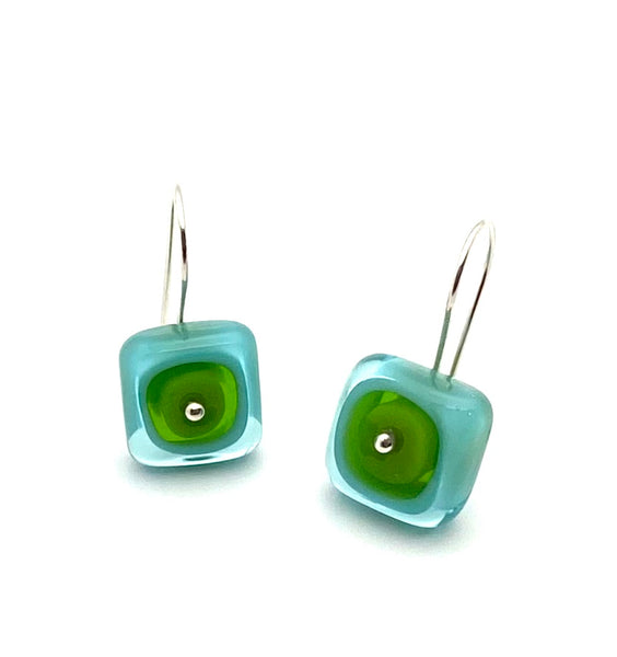 Square Dangle Earrings Large Glass and Turquoise and Green Glass and Sterling Silver