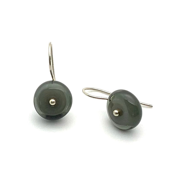 Small Circle Earrings in Gray Glass and Sterling Silver