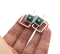 Offset Square Short Dangle Earrings in Gray and Aqua Glass and Sterling Silver