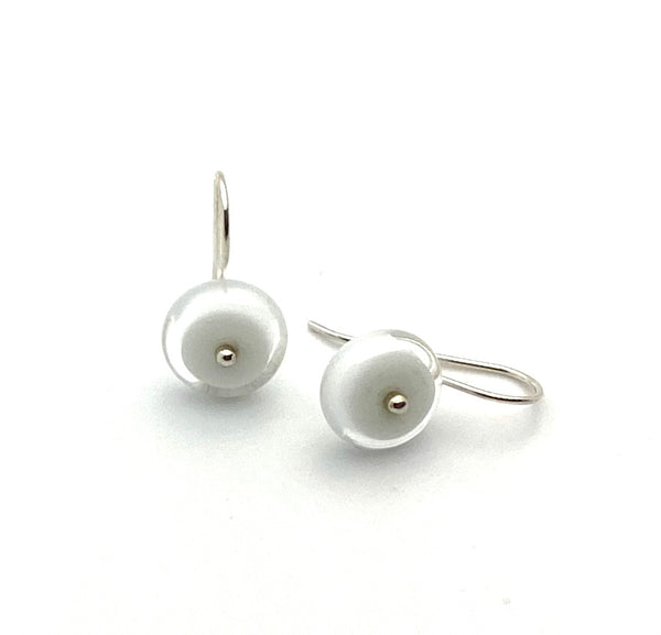 Small Circle Earrings in White Glass and Sterling Silver