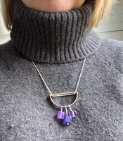 Semicircle Stem Necklace in Lavender and Violet Glass and Sterling Silver
