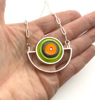 Semicircle Necklace in Orange and Green Glass and Sterling Silver