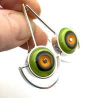 Semicircle Earrings in Orange and Green Glass and Sterling Silver