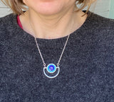 Semicircle Necklace in Blue and Turquoise Glass and Sterling Silver