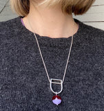 Hollow Stem Necklace in Fuchsia and Lavender