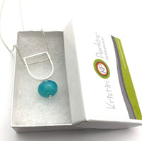 Two Toned Hollow Stem Necklace in Turquoise and Aqua Glass and Sterling Silver