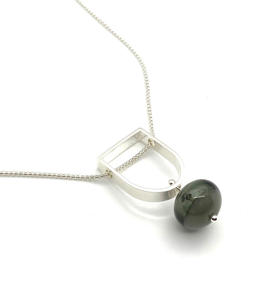 Two Toned Hollow Stem Necklace in Gray Glass and Sterling Silver