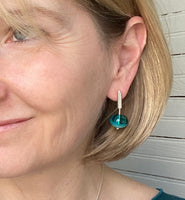 Short Stem Dangle Hollow Ball Earrings in Two Toned Turquoise and Teal Glass and Sterling Silver