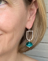Elongated Half Circle and Hollow Ball Earrings in Two Toned Turquoise and Teal Glass and Sterling Silver