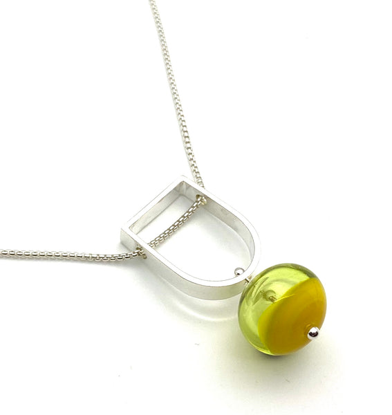 Two Toned Hollow Stem Necklace in Yellow Glass and Sterling Silver