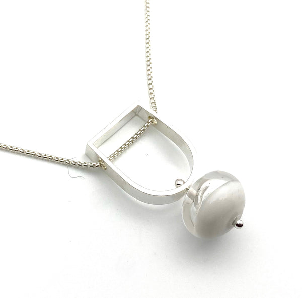 Two Toned Hollow Stem Necklace in White and Clear Glass and Sterling Silver