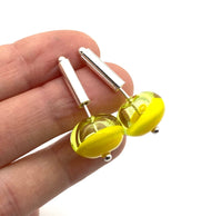 Short Stem Dangle Hollow Ball Earrings in Two Toned Yellow Glass and Sterling Silver