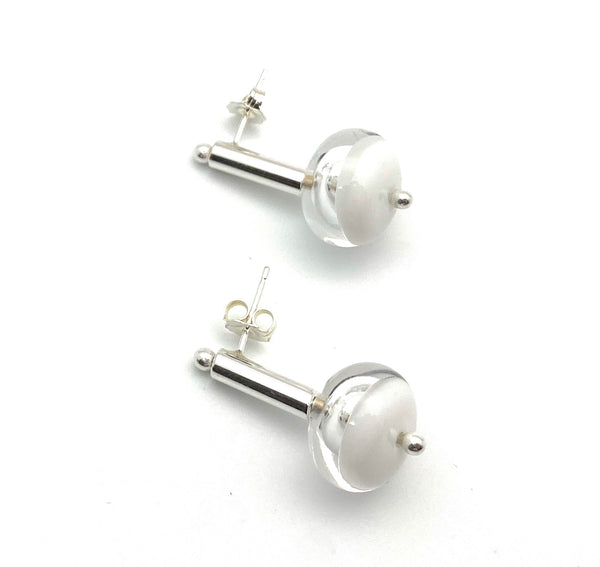 Short Stem Dangle Hollow Ball Earrings in Two Toned White and Clear Glass and Sterling Silver
