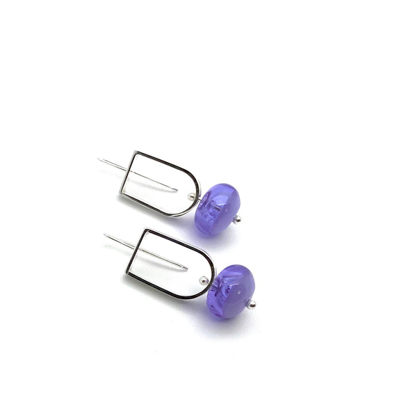 Elongated Half Circle and Hollow Ball Earrings in Two Toned Lavender Glass and Sterling Silver
