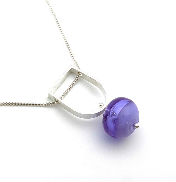 Two Toned Hollow Stem Necklace in Lavender Glass and Sterling Silver