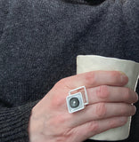 Offset Square Ring in Gray and White Glass and Sterling Silver
