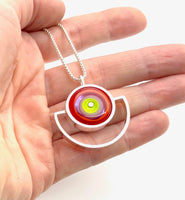 Semicircle Necklace in Chartreuse, dark Orange, and Lavender Glass and Sterling Silver