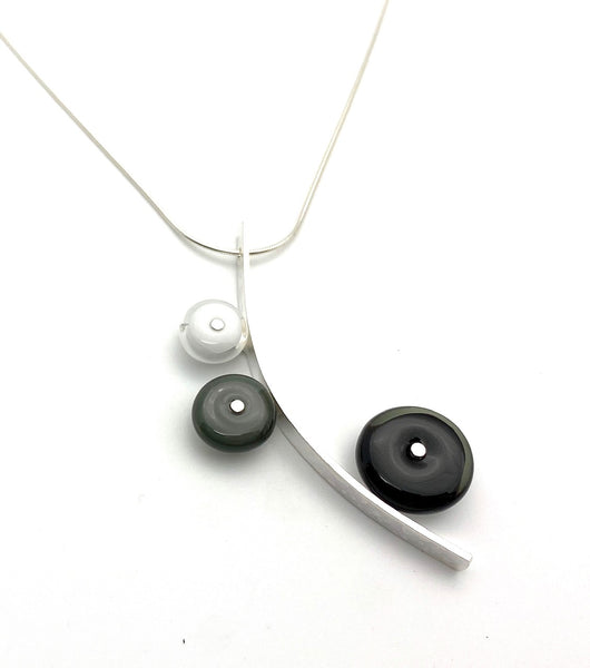 Reserved for Susan - Modern Curved Triple Circle Necklace in Black, White, and Gray.