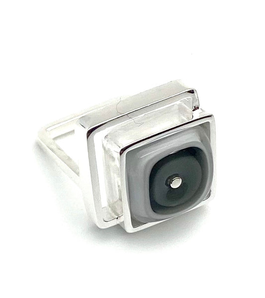 Offset Square Ring in Gray and White Glass and Sterling Silver US size 7.25