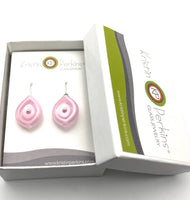 Reserved for Terry- Leaf Dangle Earrings Multi Short in Pink Glass and Sterling Silver