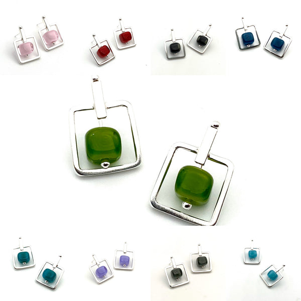 Square Stem Earrings Glass Cube And Sterling Silver in Turquoise Aqua, White, Lavender, Teal, Gray, Black, Pink, and Red
