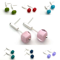 Petite Stem Earrings in Glass and Sterling Silver - Choice of Colors