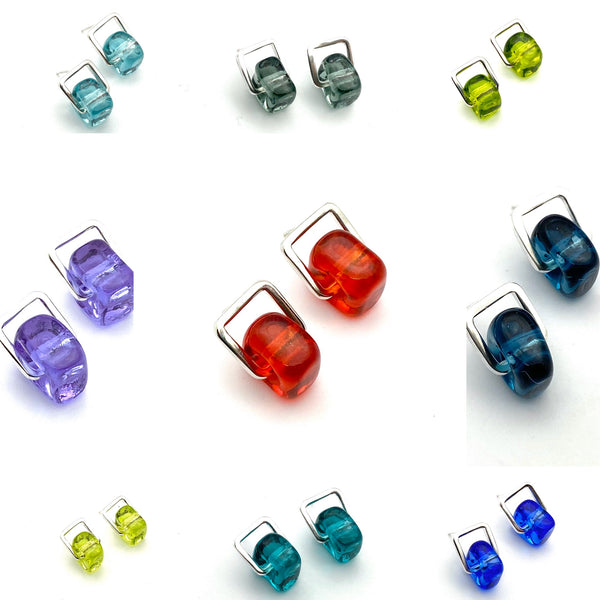 Cube Dangle Stud Earrings with Sterling Silver Square - Choice of Colors