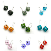 Cube Latch Earrings in Glass and Sterling Silver - Choice of Colors Including Clear