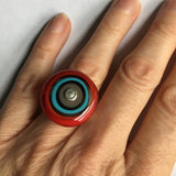 Handmade Large Cocktail  Ring in Gray, Turquoise, and Red - US Size 5.5