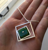 Offset Square Teal and Green Offset Square Necklace, Silver Pendant, Art Glass , Sterling Silver necklace, Handmade Glass
