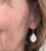 Leaf Dangle Earrings in White Glass and Sterling Silver