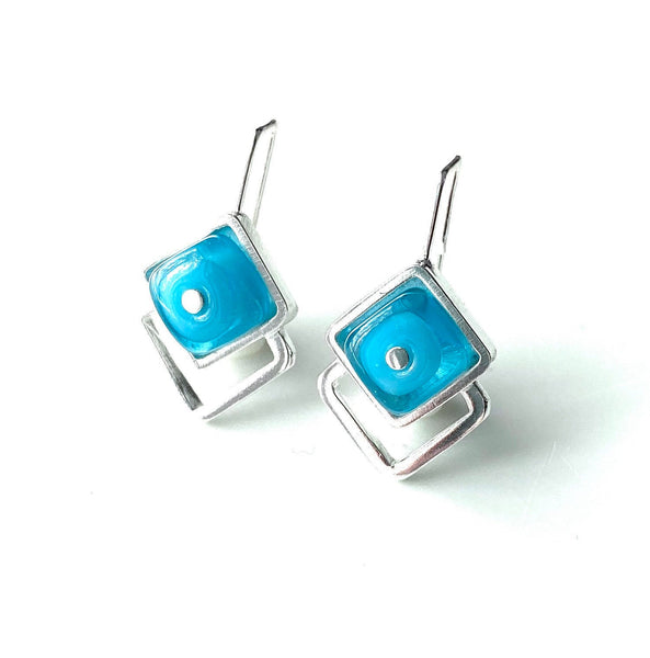 Diamond Shaped Glass and Silver Earrings Turquoise Aqua