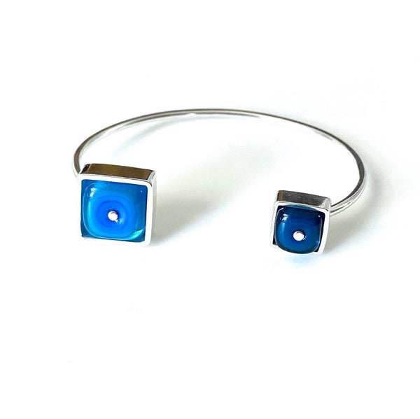 Double Sided Cuff Bracelet Blue, Modern Bracelet