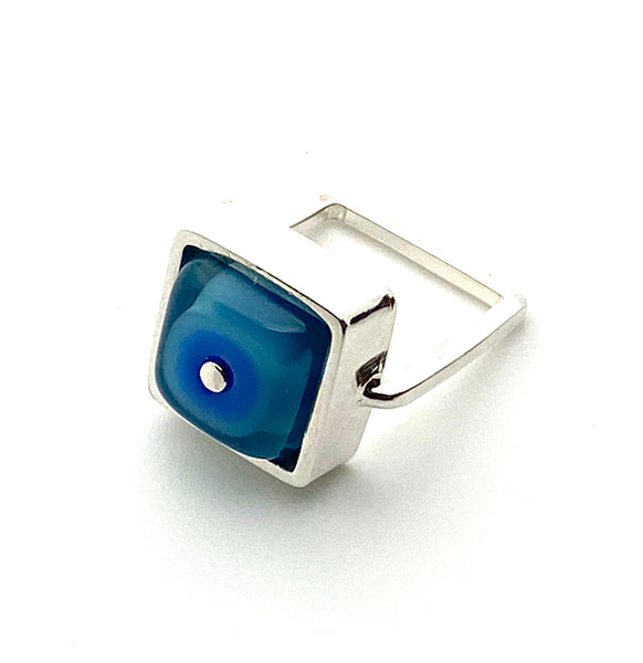 Square Ring in Blue and Turquoise Glass and Sterling Silver Framed Square Ring Shank US Size 5.5
