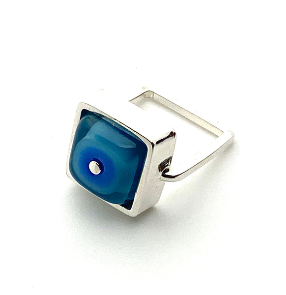 Square Ring in Turquoise and Blue Glass and Sterling Silver Framed Square Band US Size 5.5