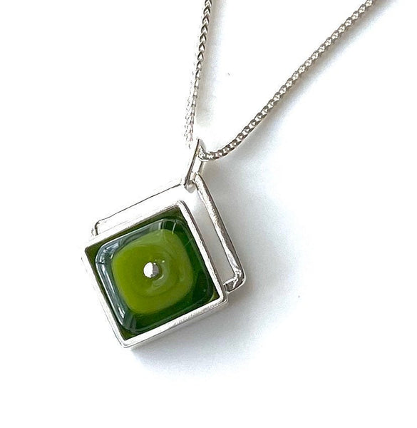 Modern Green Diamond Shaped Pendant