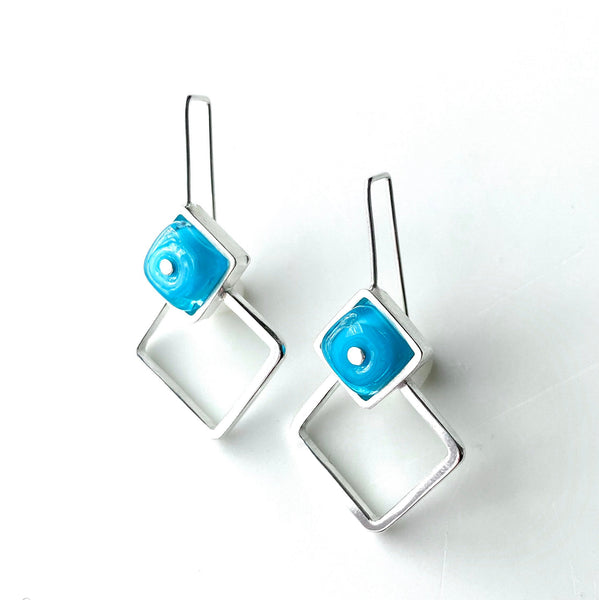 LARGE  Diamond Shaped Glass and Silver Earrings IN TUrquoise AQua