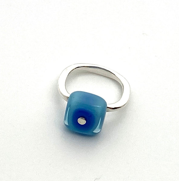 Square Glass Ring in Blue and Turquoise
