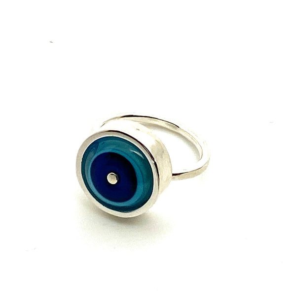 Simple Circle Ring in Blue and Turquoise Glass and Sterling Silver Framed