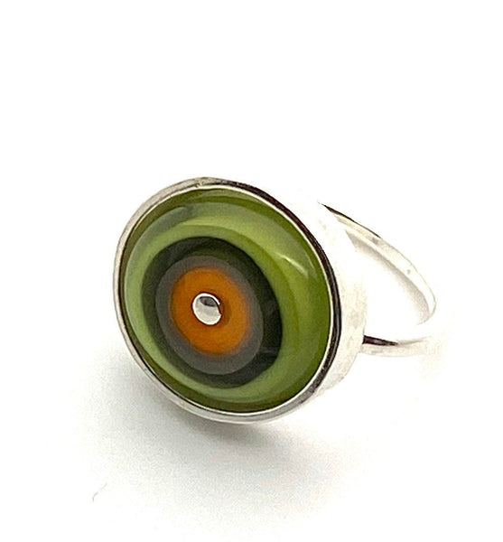 Simple Circle Ring Orange and Green Glass and Sterling Silver Framed US Size 7