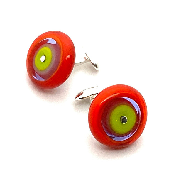 Round Cuff Links in Bright Colors Art Glass and Sterling Silver Orange Lavender Lime Green
