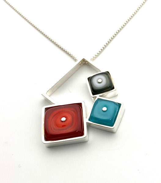 Falling Squares Necklace, Modern Necklace, Red and Turquoise Necklace