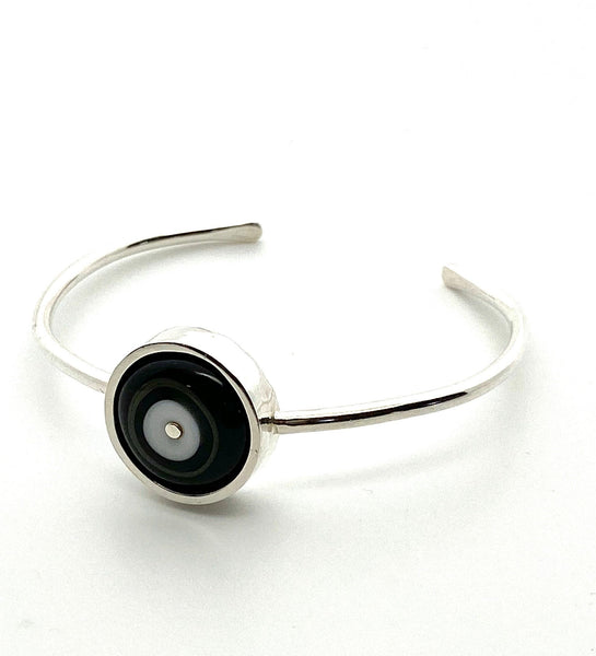 Handmade Black and White Cuff Sterling Silver Bracelet