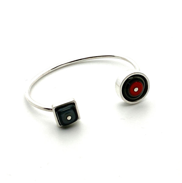 Double Sided Cuff Bracelet Red and Gray Glass and Sterling Silver