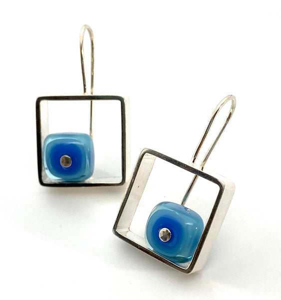Glass and Silver Box earrings Blue and Turquoise