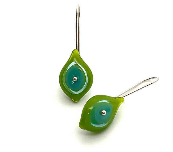 Leaf Earrings Multi Colored Green and Turquoise Glass and Sterling Silver