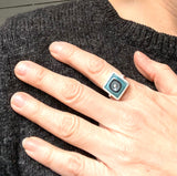 Square Ring with Square Shank Turquoise and Gray Glass and Silver Framed US Size 8