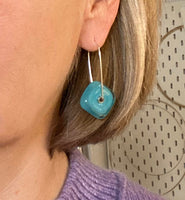 Large Square Latch Earrings in Turquoise Glass and Sterling Silver