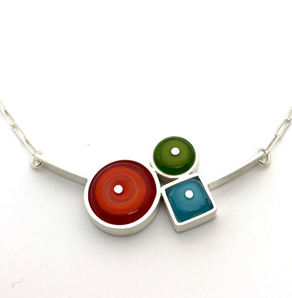 Triple Circle Glass and Silver Bar Necklace