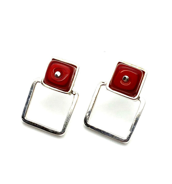 Large Glass and Silver Double Square Stud Earrings In Red